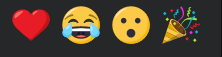 heart emoji, laugh cry emoji, surprise face emoji, party confetti emoji