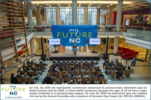 myFutureNC announcing attainment goal to NC General Assembly