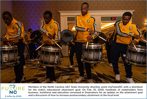 Four members of the NC A&T Statue University drumline