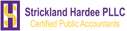 Purple gold Strickland and Hardee CPA logo